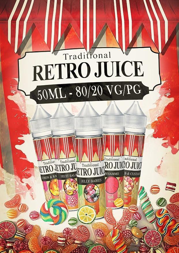 RETRO JUICE 80VG 20PG E Liquído 0MG 50ml, Sin Nicotina Sin Tabaco ...