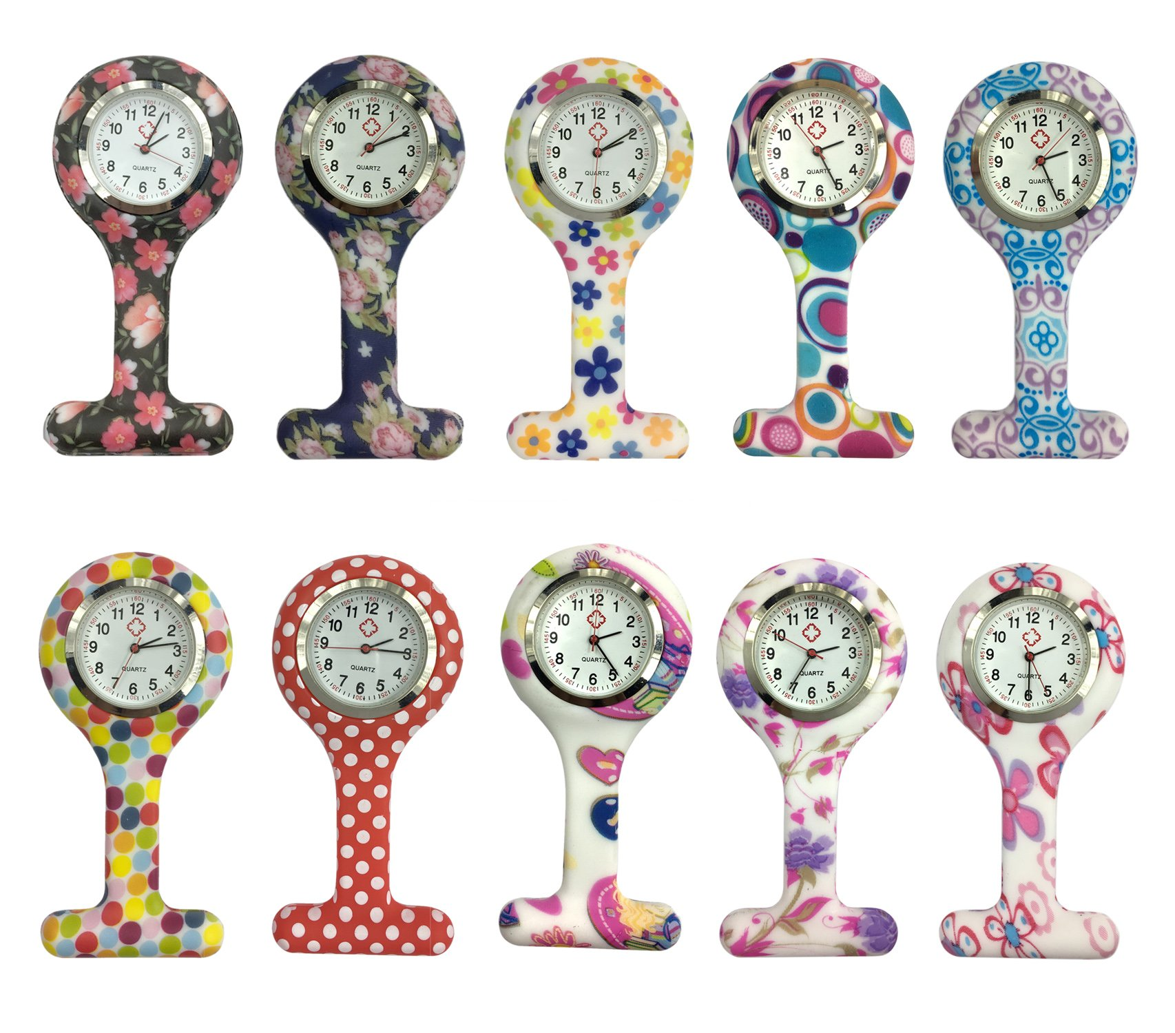 Square Silicone Nurse Fob Watch Pack of 10,Women Floral Clip-on Fob Brooch Hanging Pocket Watch