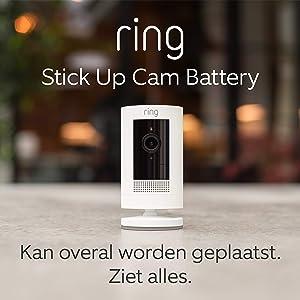 Ring Stick Up Cam Battery, HD-beveiligingscamera met tweeweg-audio | Inclusief proefabonnement van 30 dagen op Ring Protect Plus | Wit