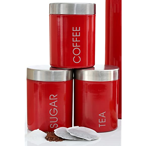 Premier Housewares Red Tea, Coffee & Sugar Canisters