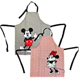 Disney Cotton Apron, 2pk - Durable Lightweight Kitchen Apron, Dots/Bows