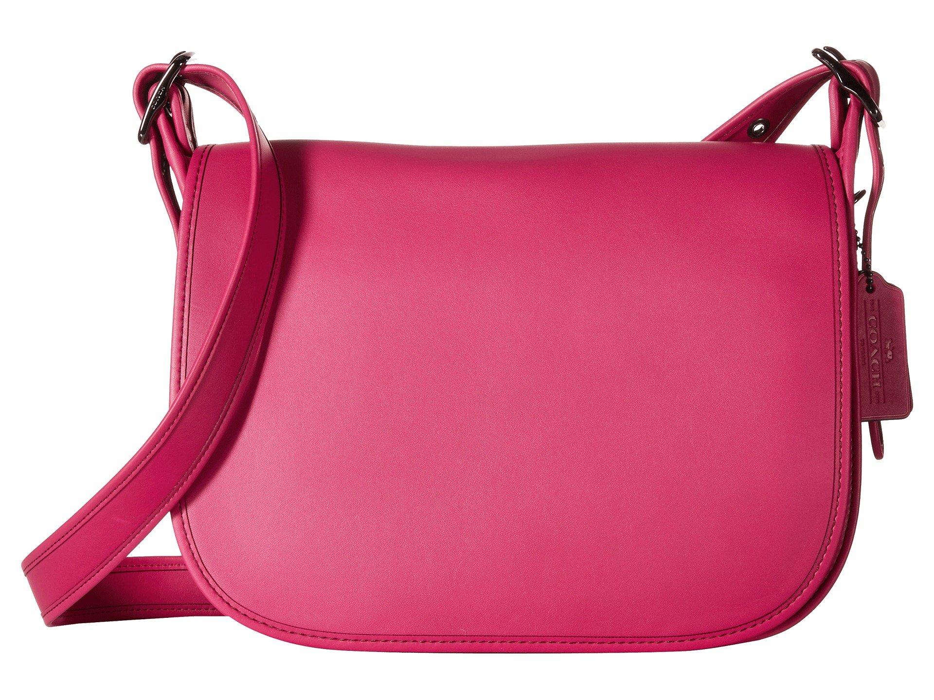 COACH Women's Gloveton Leather Saddle Bag DK/Cerise Cross Body