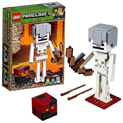 LEGO Minecraft BigFig Skeleton with Magma Cube Building Kit (142 Pieces): Toys & Games