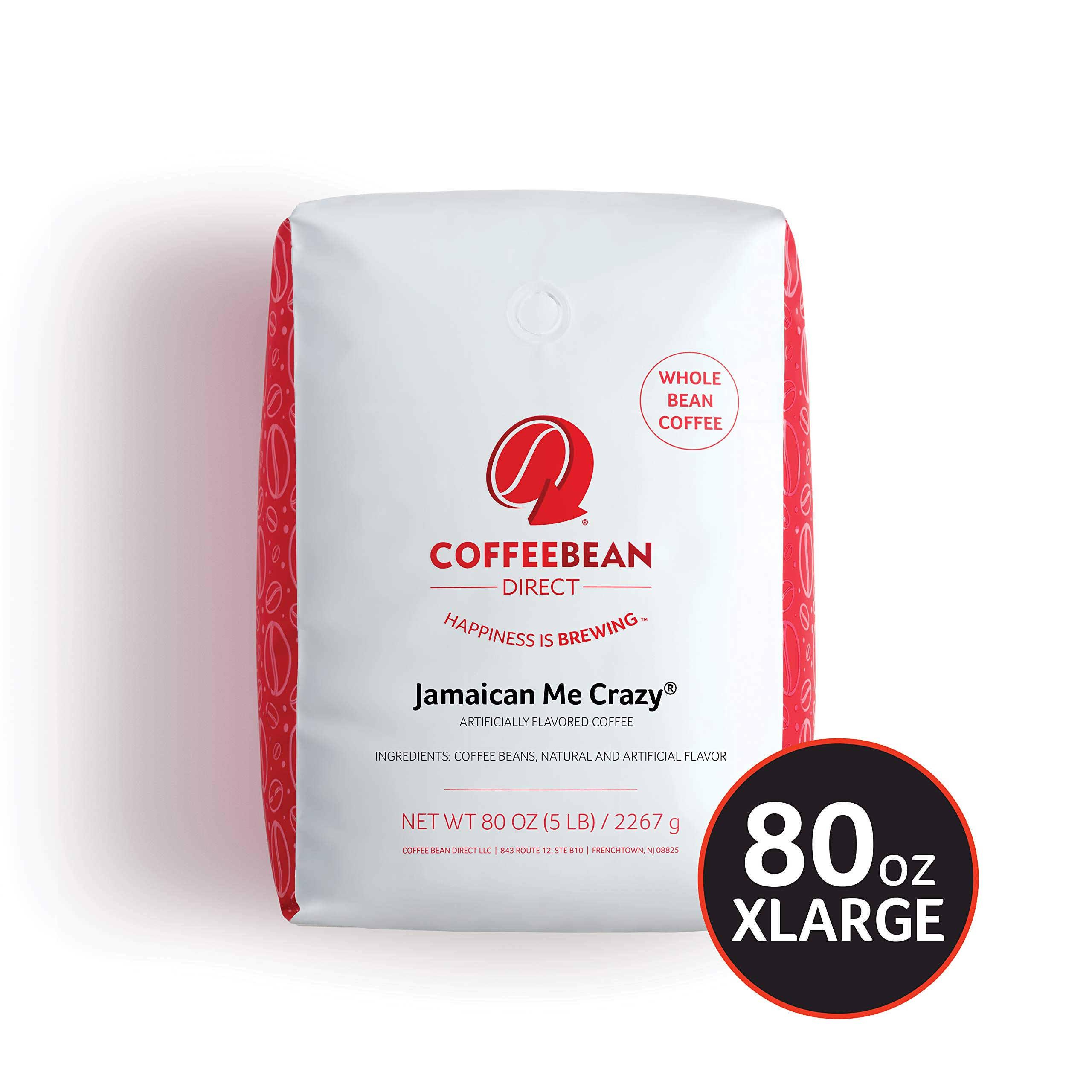 Coffee Bean Direct Jamaican Me Crazy Flavored, Whole Bean Coffee, 5-Pound Bag by Coffee Bean Direct
