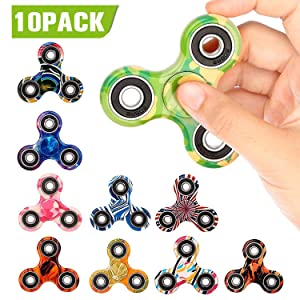 SCIONE 10 Pack Fidget Spinner Stress Relief Reducer Spin ADHD Anxity Toys for Kids Adults Autism Fidgets EDC Hand Spinners Trispinner Finger Toy Focus Fidgeting Restless Tri-Spinner Party Favors