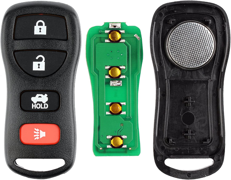 Pack of 2 KeylessOption Keyless Entry Remote Control Car Key Fob Replacement for KBRASTU15-Red