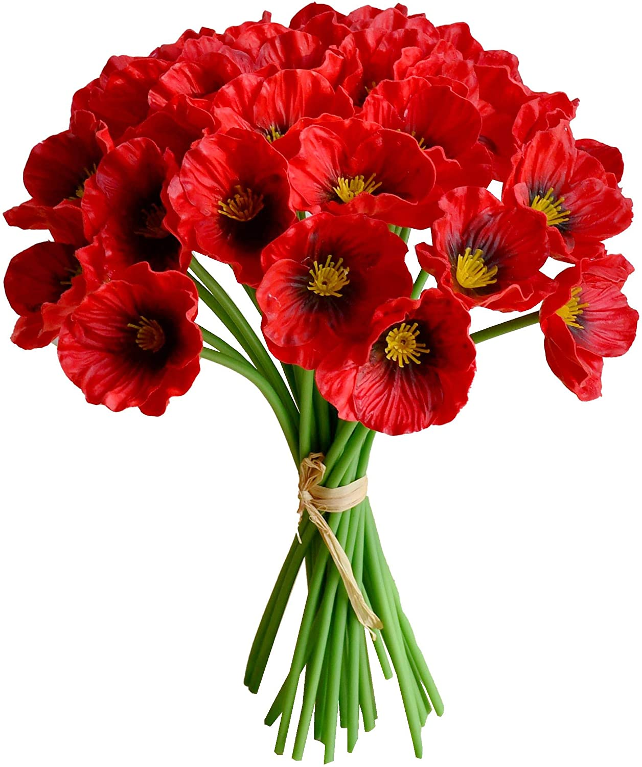 Mandy's 30pcs Red Poppies Artificial Flowers for Wedding Home & Kitchen PU 12.5