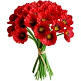 """Mandy's 30pcs Red Poppies Artificial Flowers for Wedding Home & Kitchen PU 12.5"""" (vase not Include)"""
