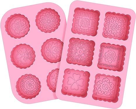Moldes de jab/ón DIY de 6 cavidades Molde de Silicona Rosa para jab/ón Galleta Pastel Chocolate Pan