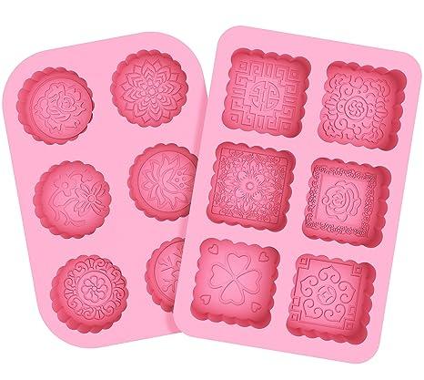 Korlon 2 Pack 6 Cavities Moldes de silicona para hacer jabón ...
