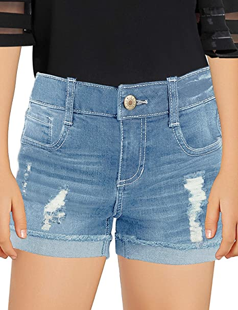 ripped blue jean shorts