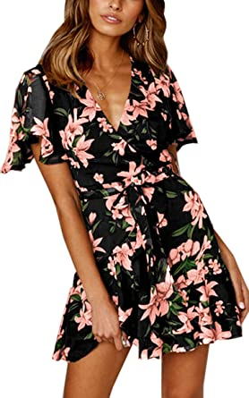 a8c2e63f408c Angashion Women's Floral Short Sleeve Wrap V Neck Ruffle Mini Dress with  Belt Black S