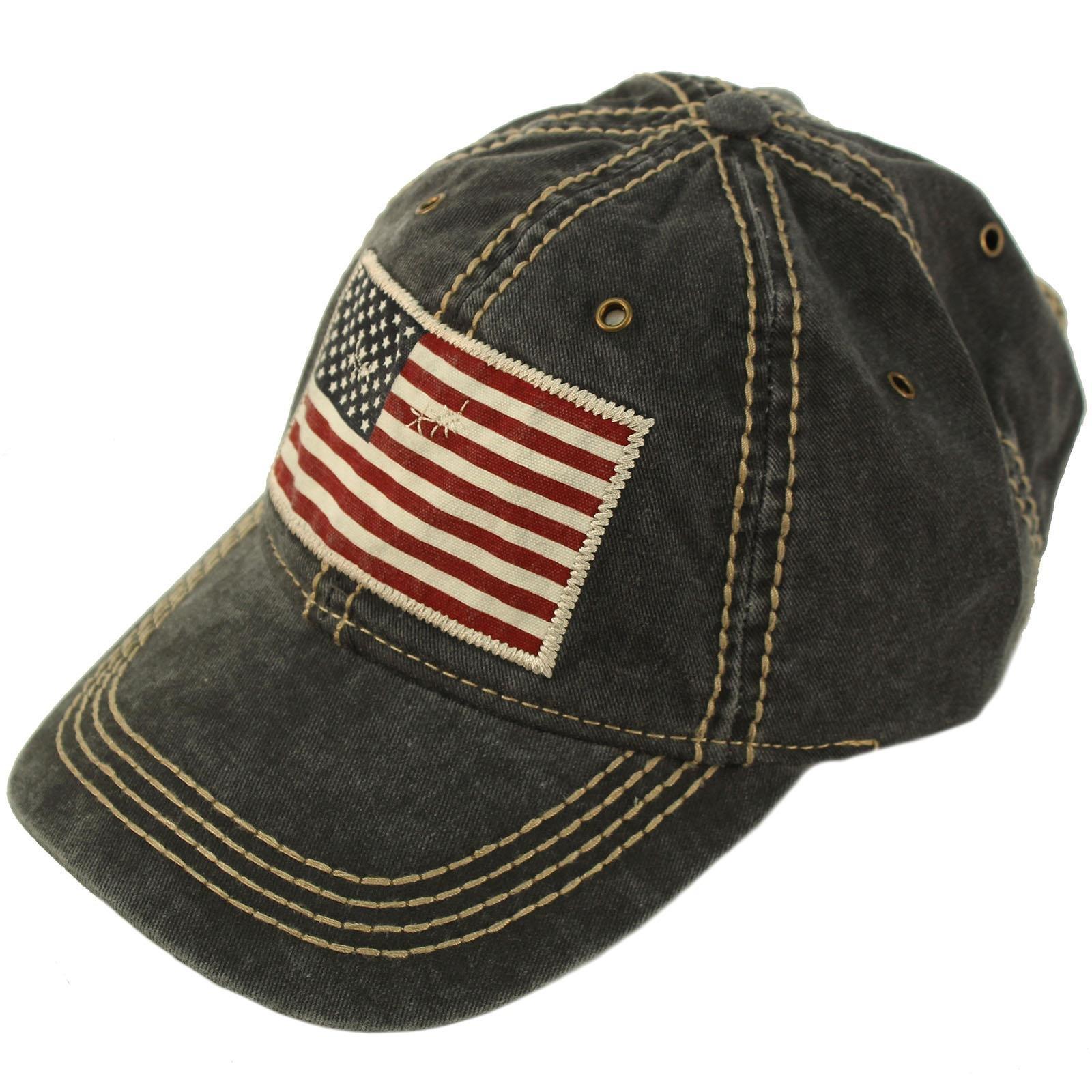 Epoch Unisex Washed Cotton Vintage USA Flag Low Profile Summer Baseball Cap Hat Black