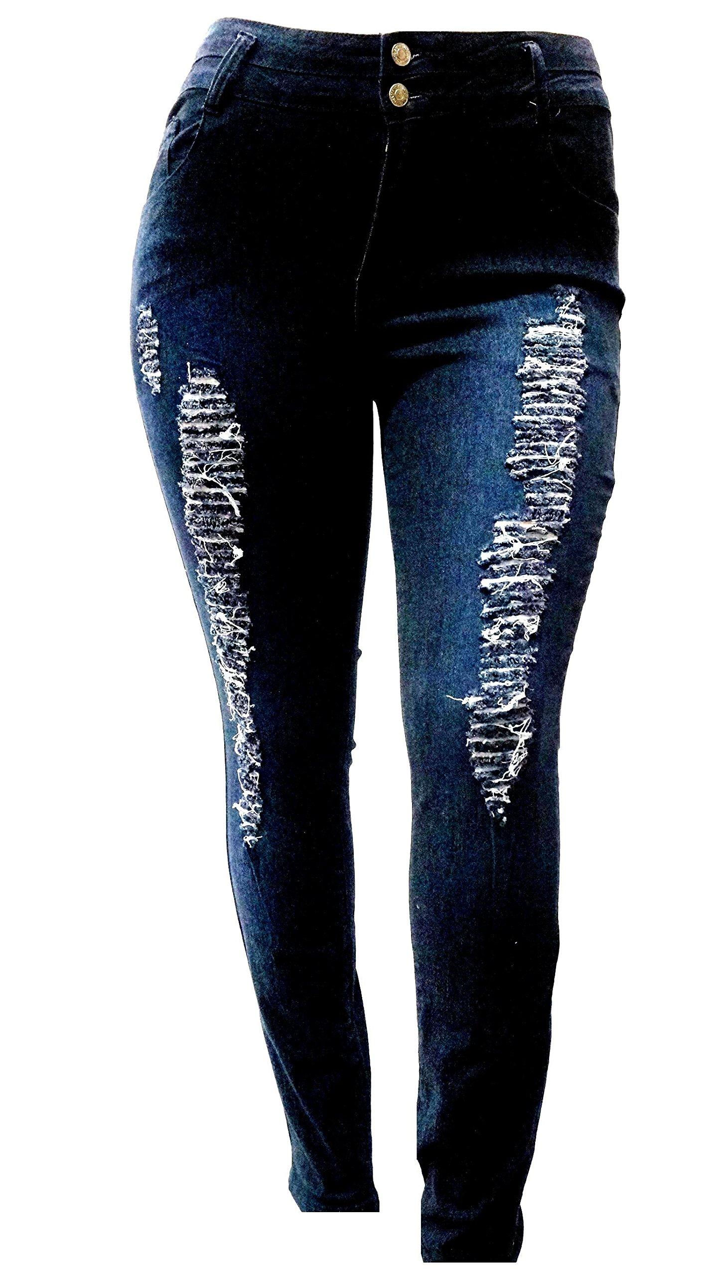 J&K88 Womens Plus Size Black Denim Jeans Stretch Skinny Ripped Distressed Pants (18)