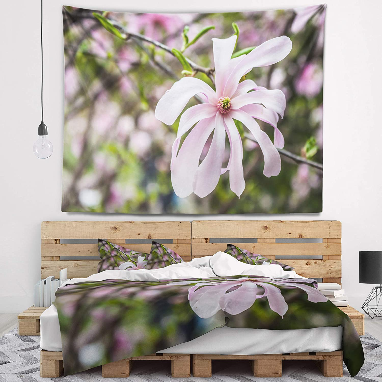 Created On Lightweight Polyester Fabric Designart TAP15488-80-68  Beautiful Magnolia Flowers Floral Blanket D/écor Art for Home and Office Wall Tapestry x Large 80 in x 68 in
