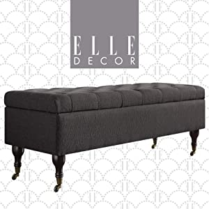Elle Decor Collette Chic Tufted Upholstered Storage Bench Fabric Padded Ottoman for Bedroom, Dark Gray