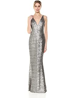 Dress The Population Womens Lina Cap Sleeve Plunging Sequin Mermaid