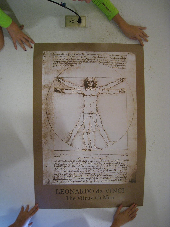 Amazon.com: Vitruvian Man Poster Print by Leonardo da Vinci, 24x36 ...