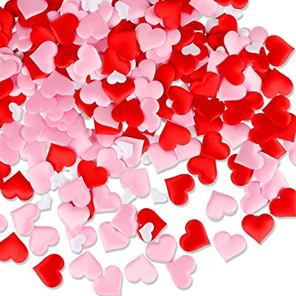 Amazon Com Leesky 300pcs Red Pink White Heart Confetti For