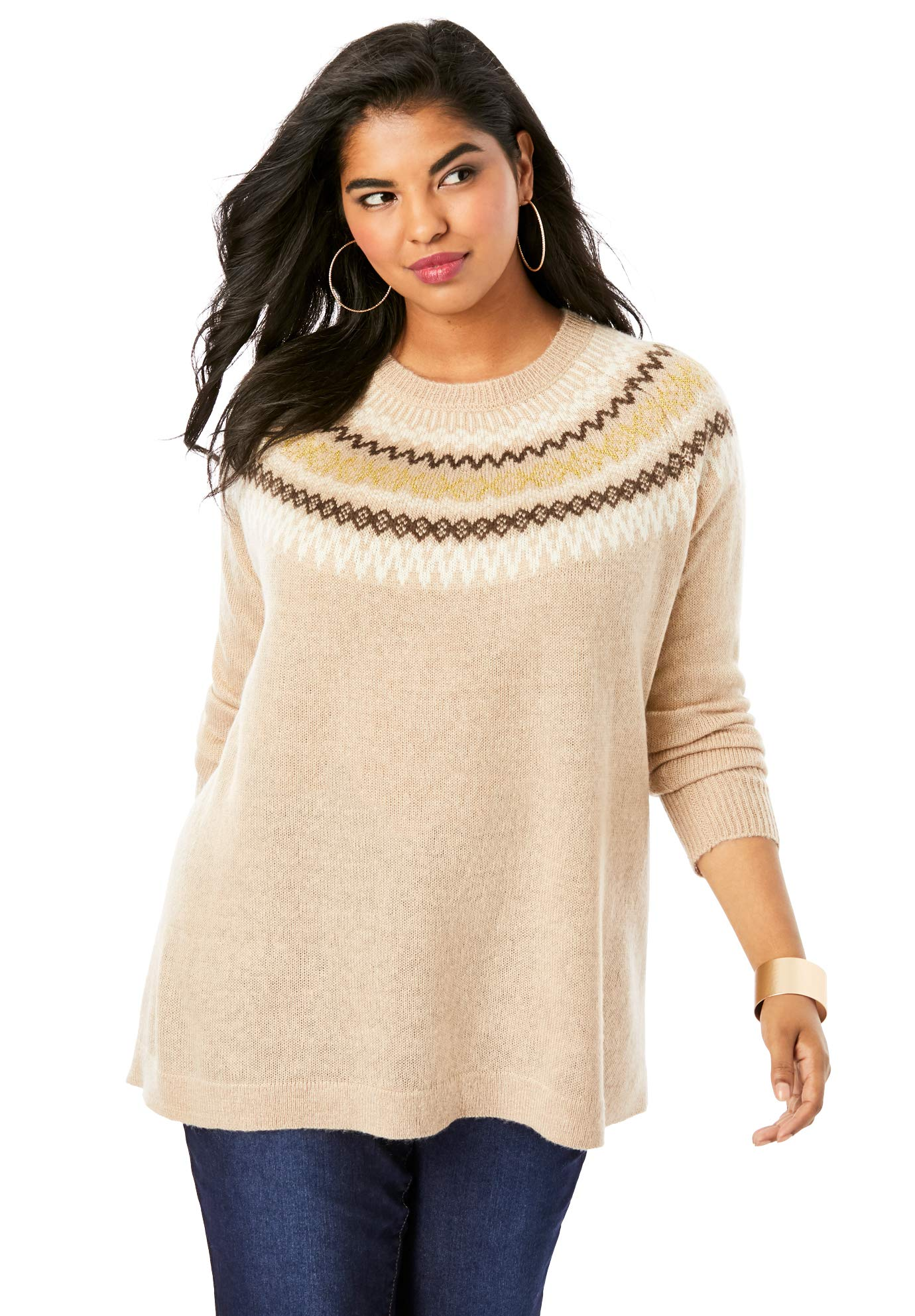 Roamans Women's Plus Size Fair Isle Pullover Sweater - Beige Classic Fair Isle, 26/28 by Roamans