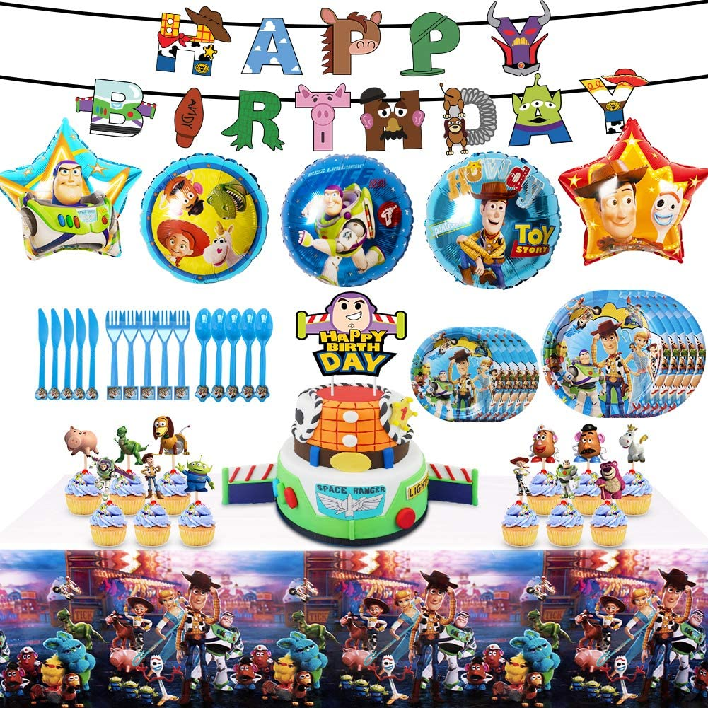 Toy Story 4 Party Supplies Birthday Decorations, 82 Pcs Party Favors - Banner, Cake Topper, Plates, Table Knife, Fork, Spoon and Foil Balloon for Kids Themed Party