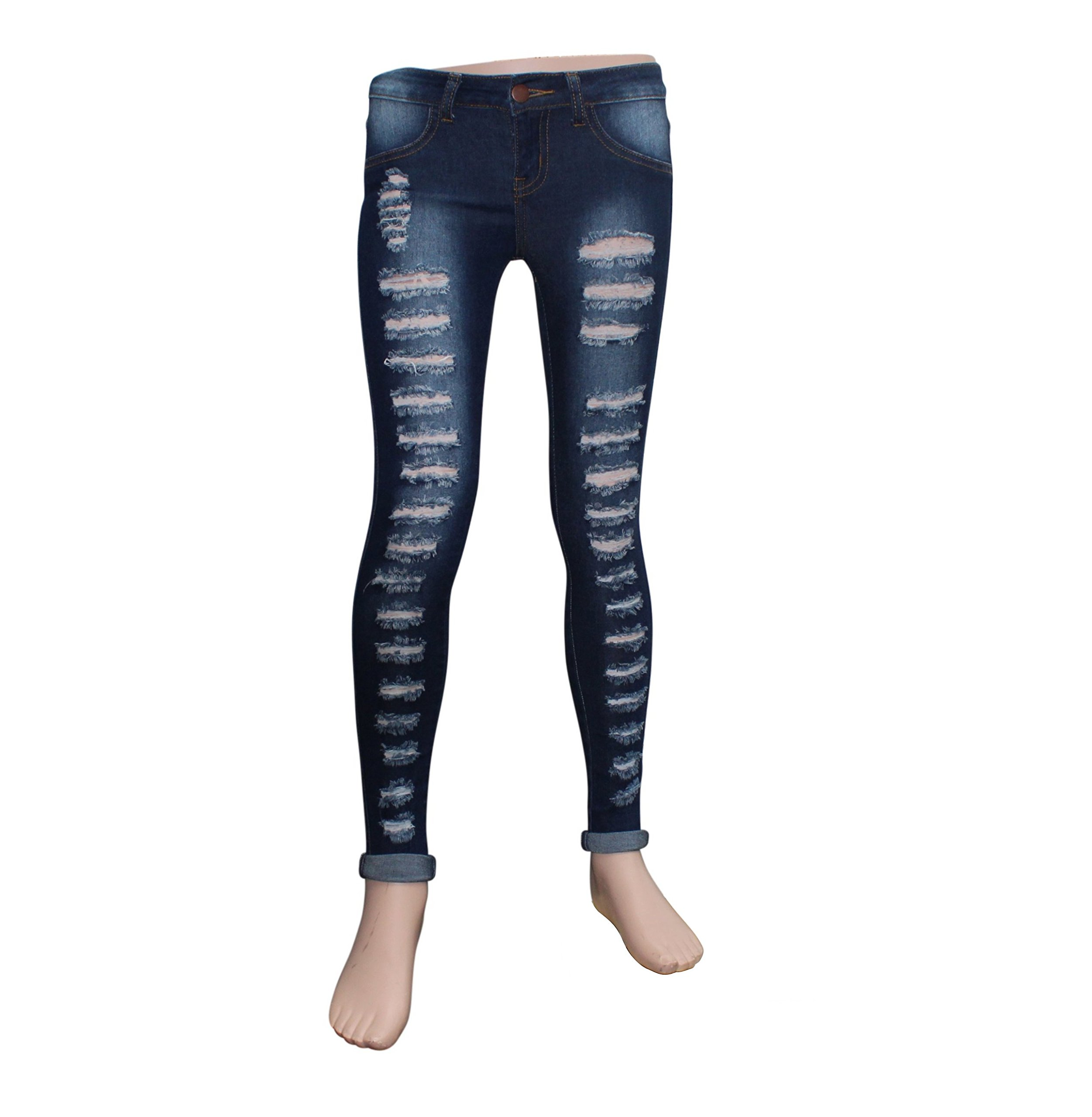 Teen G's Jeans and Twill for Girls by Skinny Jeans for Girls with Ripped Denim and Distressed Stretch Fabric Slim Fit Pants,kp33 (16, Black) by Teen G's (Image #3)