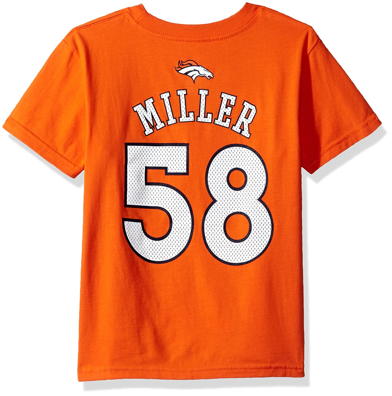 NFL Boys 4 7 Von Miller Denver Broncos Mainliner Player Player Name Number Short Sleeve Tee Orange Medium 5 6
