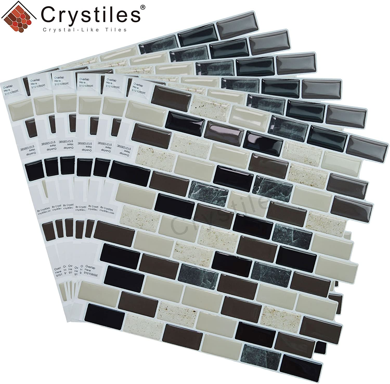 Perfect backsplash idea for Kitchen and Bathroom d/écor Projects Item #91010859 10 X 10 Each Crystiles Peel and Stick DIY backsplash Tile Stick-on Vinyl Wall Tile 6 Sheets Pack