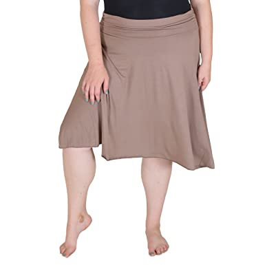 3a7a5558b7 Stretch is Comfort Women's Plus Size Knee Length Flowy Skirt Beige 2X