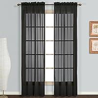 Rod Pocket Voile Curtains Sheer Drops 200cm /245cm Drop Crushed Voile Panel/Pair