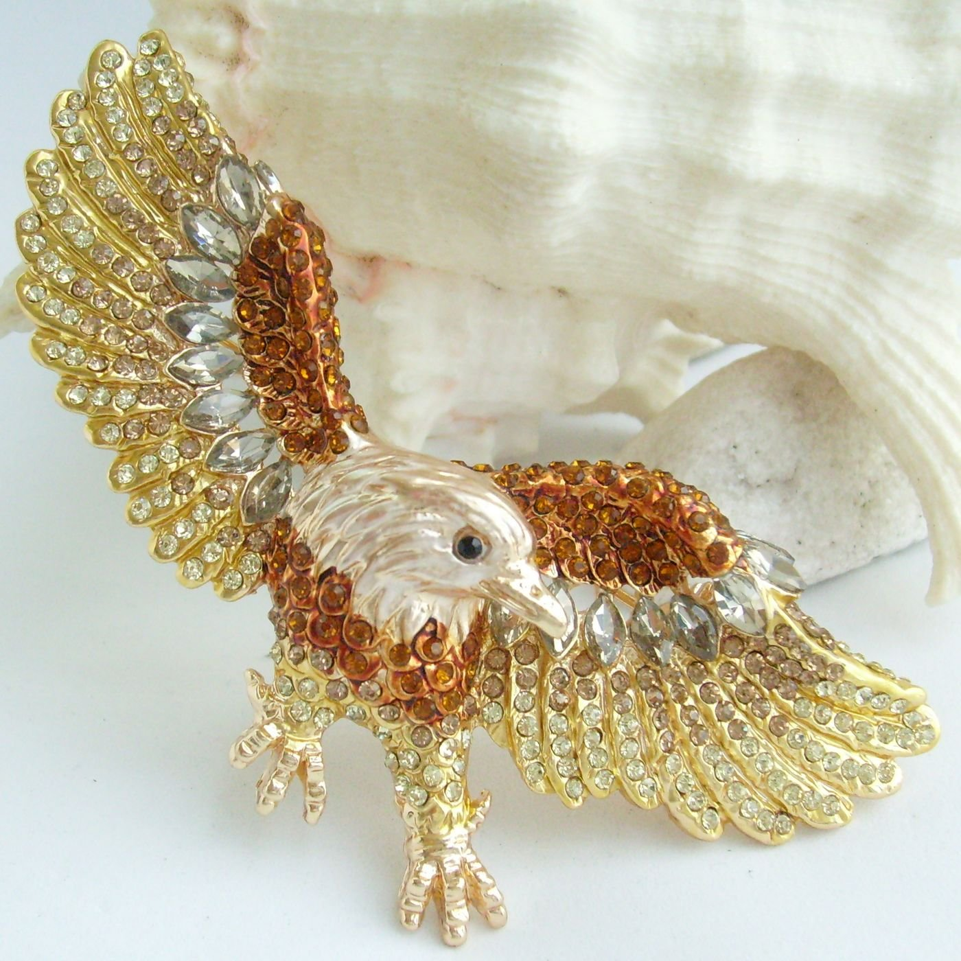 Sindary Unique 3.15'' Eagle Brooch Pin Rhinestone Crystal Pendant BZ4717 (Gold-Tone Brown) by Animal Brooch-Sindary Jewelry (Image #4)