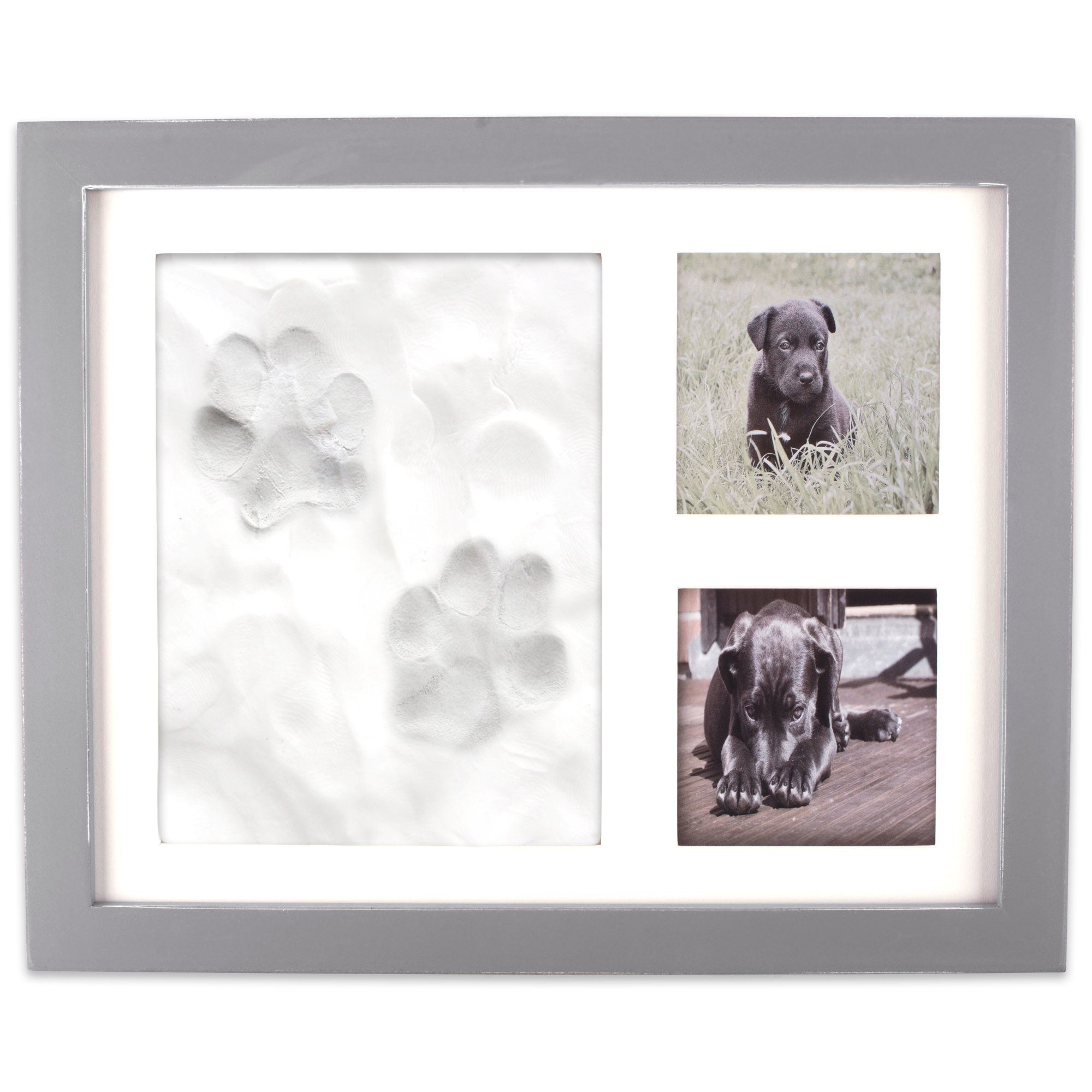 Home Traditions Z02161 Keepsake Frame for Dog, Cat Or Other Pet Photos and Paw Wall Or Desk-Holds Two 3x3 Images and Clay Included for Imprints