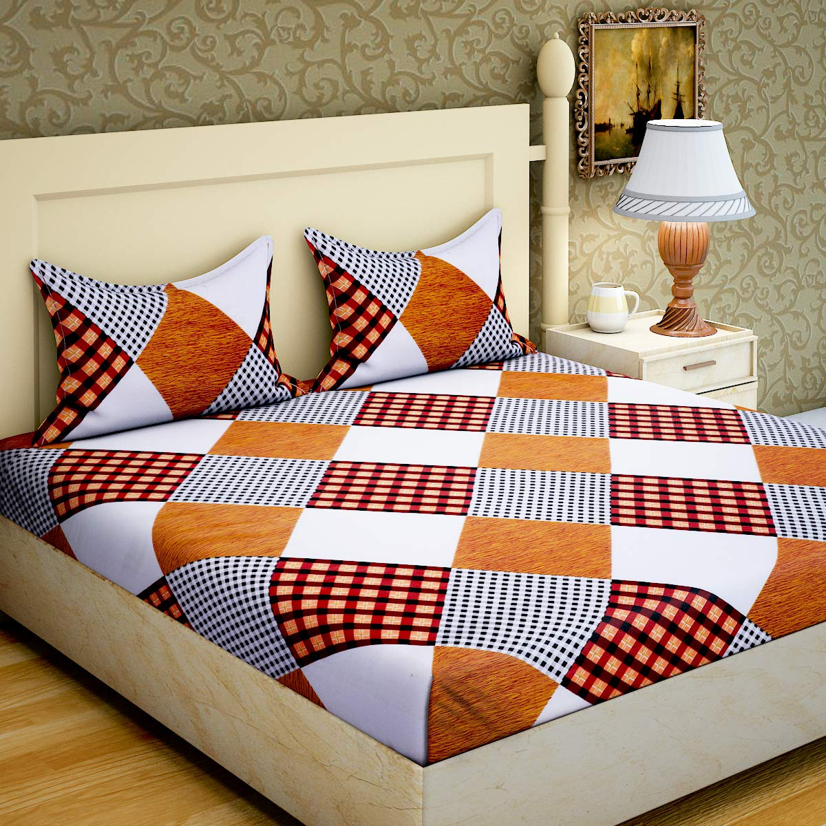 Home Elite Dynamic Print 104 TC Cotton Double Bedsheet