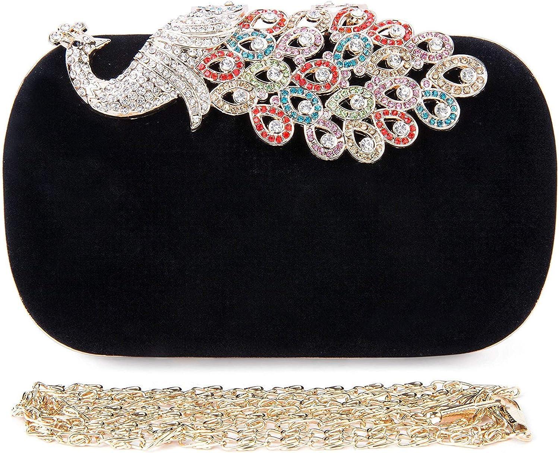 SYMALL Bolso de mano con diamantes cristales brillantes cartera de mano estilo elegante del pavo real bolso de fiesta para mujer