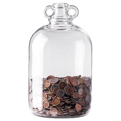 Botella de cristal damajuano para monedas