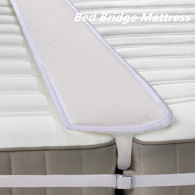 Qucover Ponte per Due Materassi Singoli Ponte Letto Matrimoniale con Cinghia Connettore Materasso in Spugna Bed Bridge for King-Size Bed Bed Connector Strap 188 x 16 cm