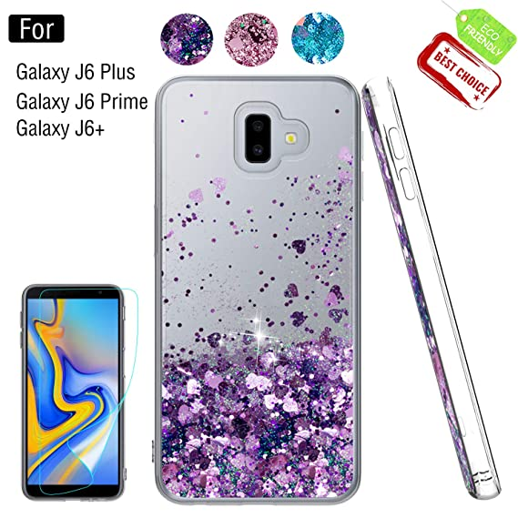 the latest 0a581 a5086 Galaxy J6 Plus Glitter Case,Samsung Galaxy J6 Prime Case,Samsung Galaxy J6+  Case with Screen Protector for Girls Women, Luxury Liquid TPU Protective ...