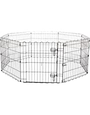 AmazonBasics Foldable Metal Pet Dog Exercise Fence Pen With Gate - 60 x 60 x 24 Inches