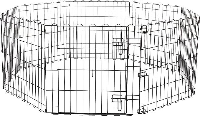 AmazonBasics - Parque de juegos y ejercicios para mascotas, paneles de valla metálica con puerta, plegable, 152,4 x 152,4 x 60,9 cm