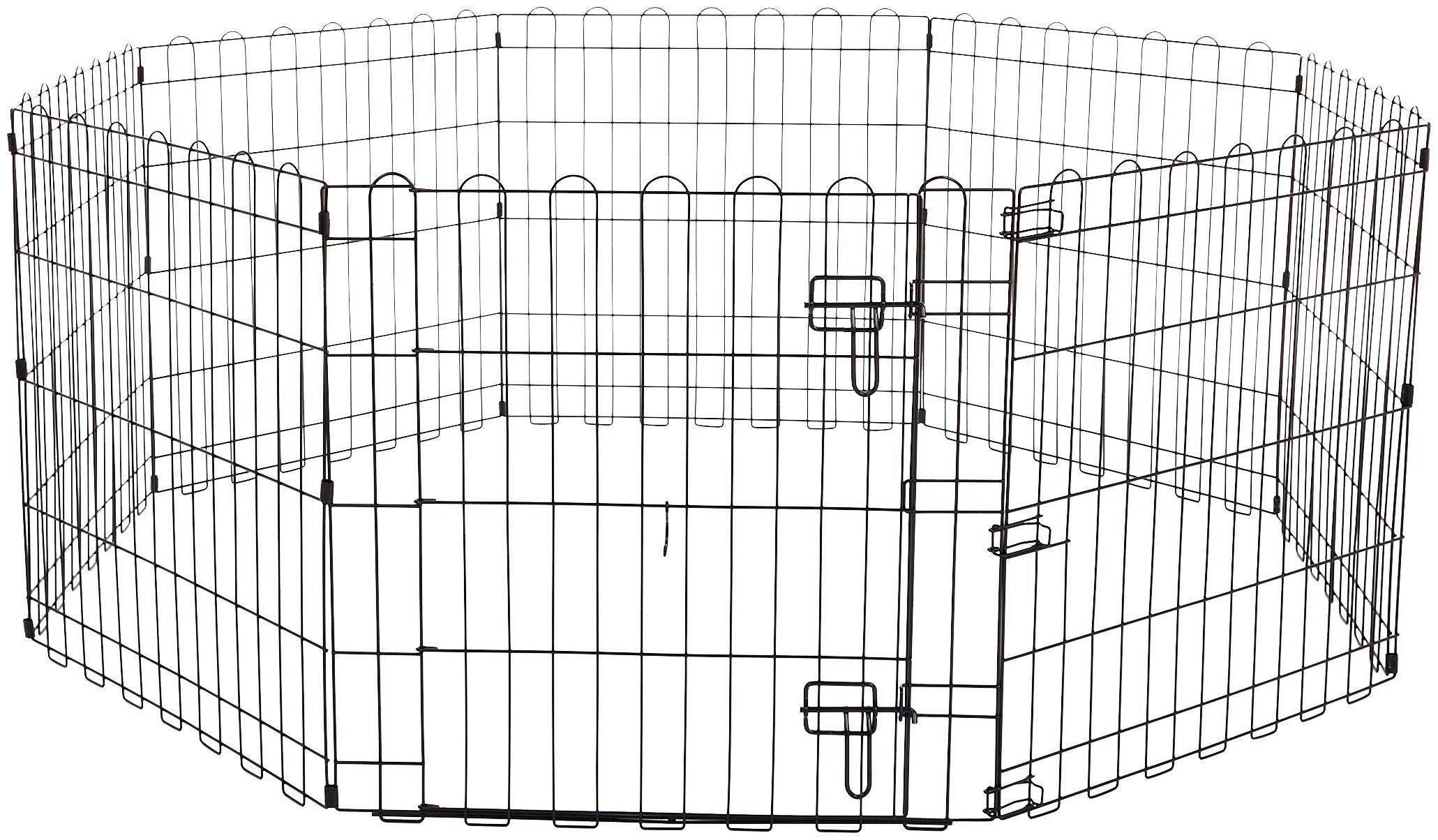 AmazonBasics Foldable Metal Pet Dog Exercise Fence Pen With Gate - 60 x 60 x 24 Inches by AmazonBasics