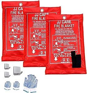 "JJ CARE Fire Blanket Fire Suppression Blanket, 40""x40"" +3 Hooks & 3 Gloves, Fire Blanket Kitchen, Emergency Fire Blanket, Fire Retardant Blankets, Fiberglass, Fire Safety Blanket for Fire Emergency"