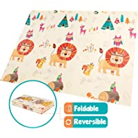 Tippy Tots Foam Baby Play Mat | Folding and Reversible | Waterproof | Non-Toxic (Lion and Mouse)