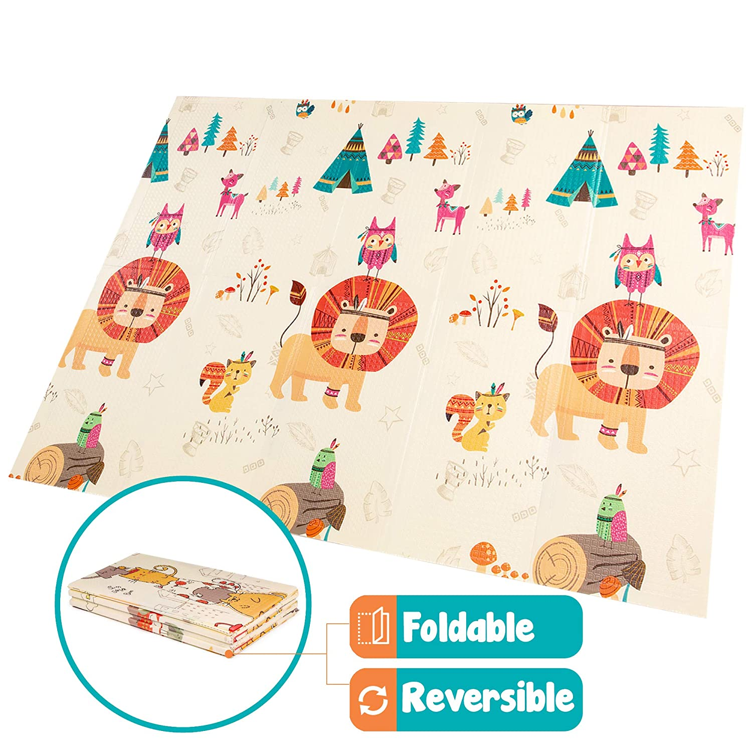 78x61x0.4in Portable Outdoor or Indoor Use Extra Large Baby Crawling Mat XPE and BPA Free Reversible Unicorn Playmat Non Toxic Waterproof for Kids Toddler Infants Foam Foldable Play Mat
