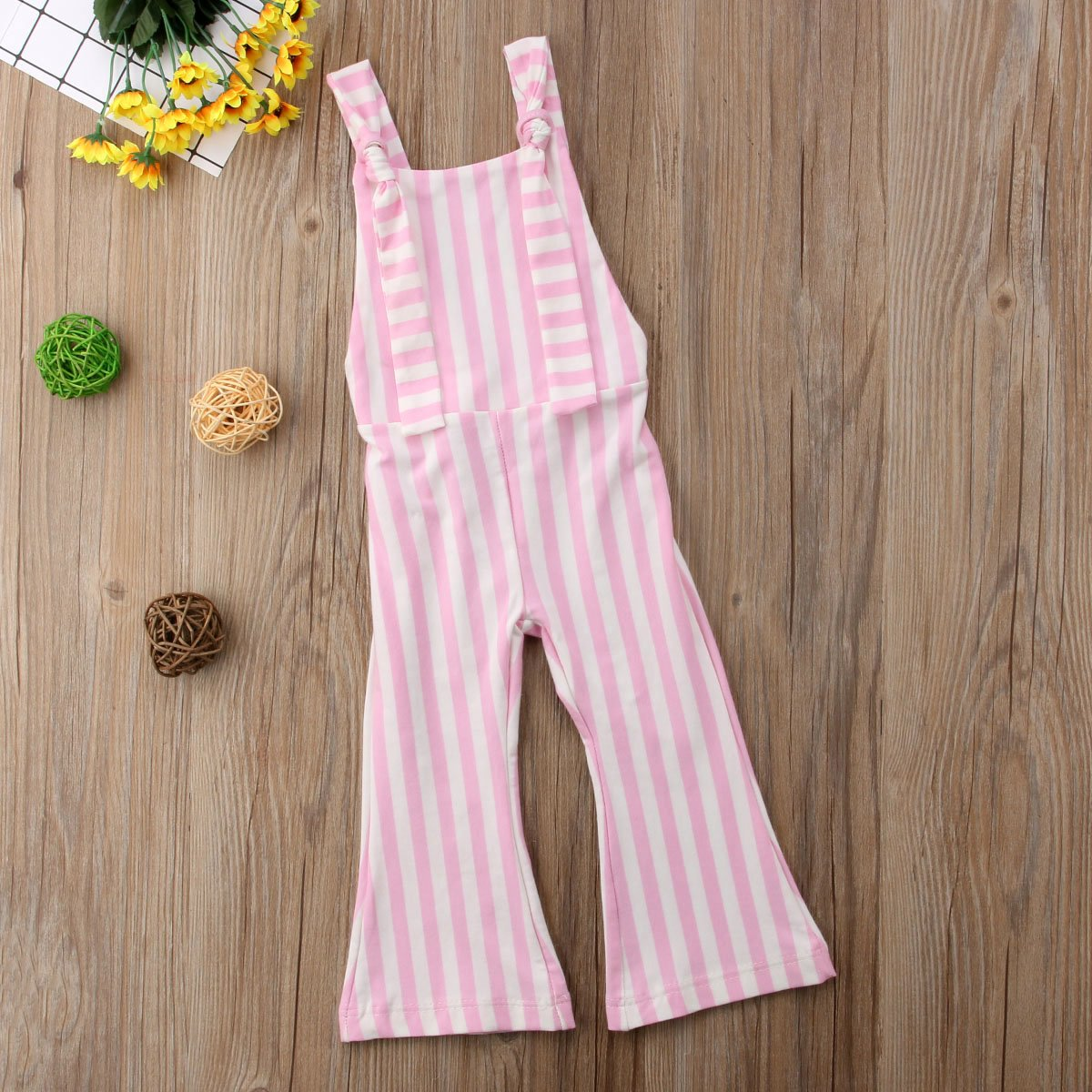 XARAZA Toddler Kids Baby Girl Stripes Bell-Bottom Jumpsuit Romper Overalls Pants Outfits