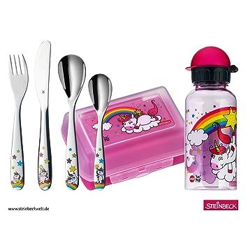 WMF Unicornio - Vajilla para niños 6 piezas, incluye fiambrera, cantimplora y cubertería (tenedor, cuchillo de mesa, cuchara y cuchara pequeña) Kids ...