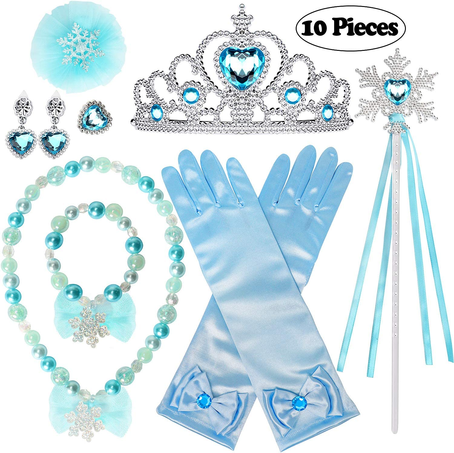Amor 8Pcs Princess Dress Up Cosplay Costume Party Accessories with Crown Wand Gloves Necklace Earrings /& Ring