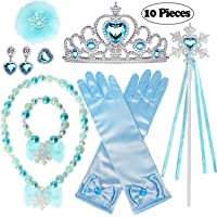 Golray 10 Pieces Princess Dress Up Accessories Princess Elsa Cinderella Little Mermaid Ariel Set for Girls with Crown…