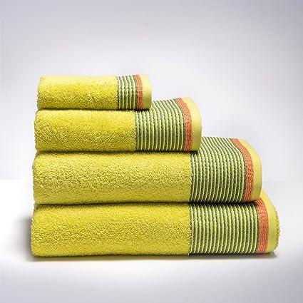 Sancarlos Toalla rizo diseño marmara amarilla - cenefa jacquard - densidad 500 g. - Rizo