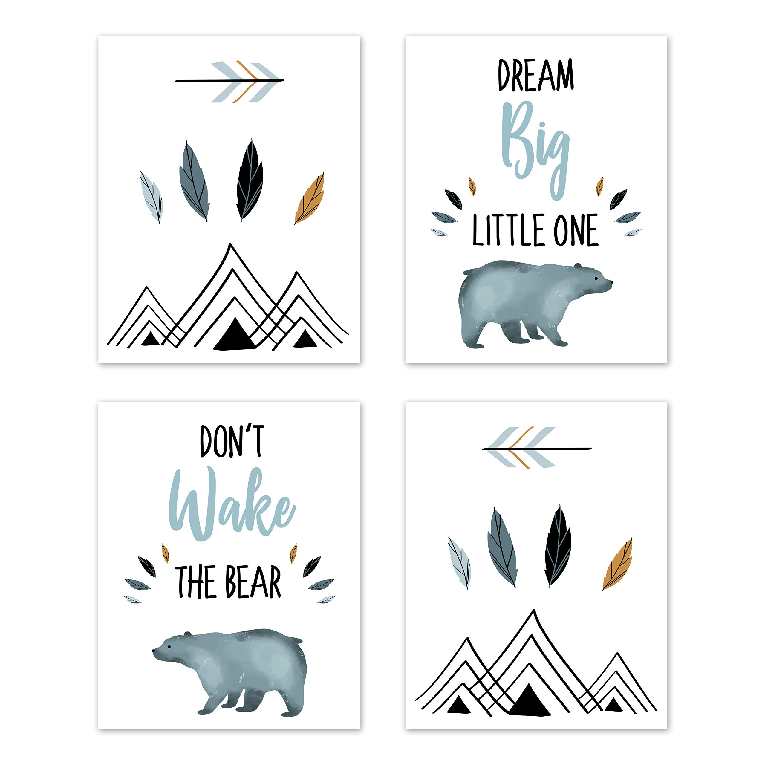 Sweet Jojo Designs Slate Blue and White Wall Art Prints Room Decor for Baby, Nursery, and Kids for Bear Mountain Watercolor Collection - Set of 4 - Dream Big, Don't Wake The Bear by Sweet Jojo Designs