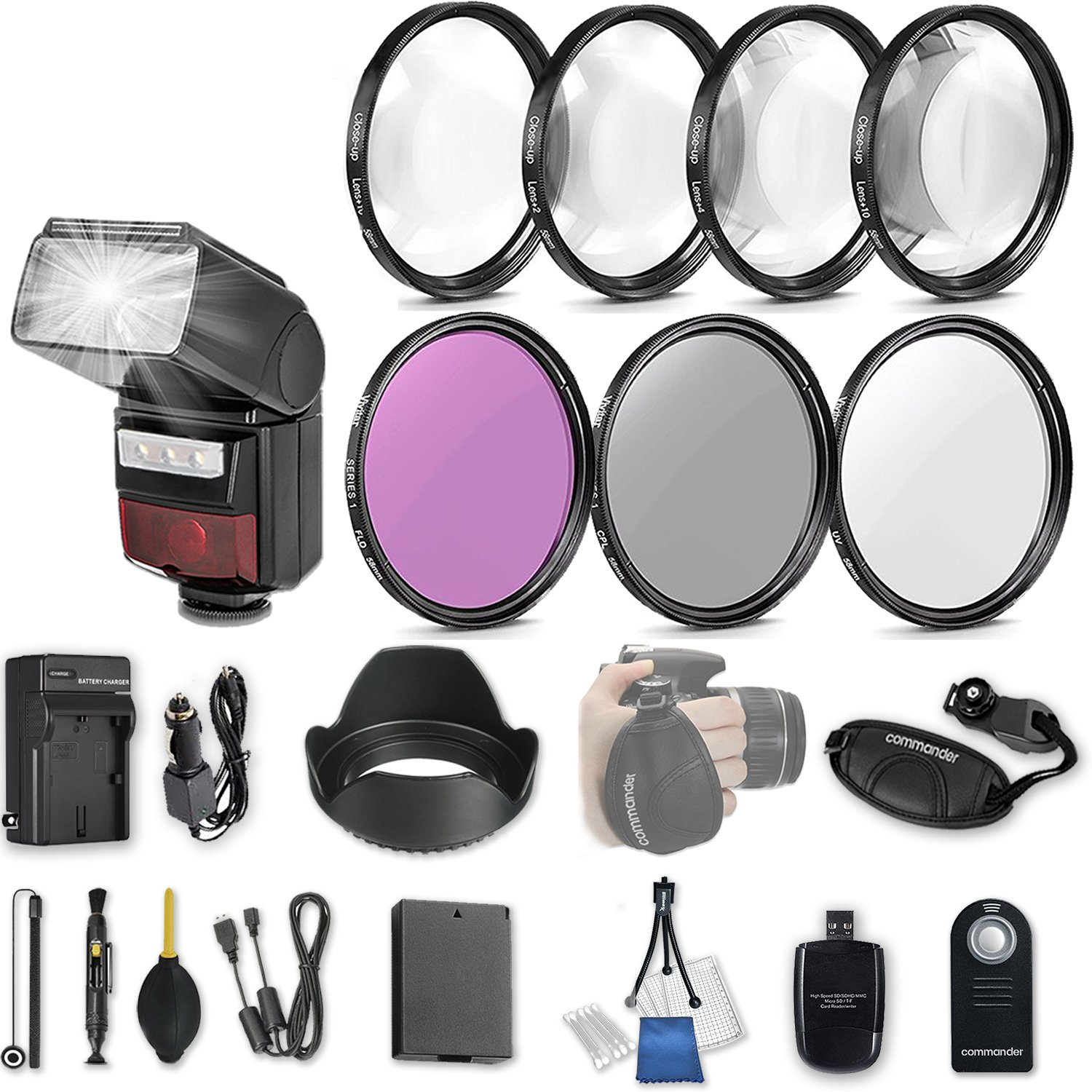 58mm 21 Pc Accessory Kit for Canon EOS Rebel T6, T5, T3, 1300D, 1200D, 1100D DSLRs with LED-Flash, UV CPL FLD Filters, & 4 Piece Macro Close-Up Set, Battery, and More